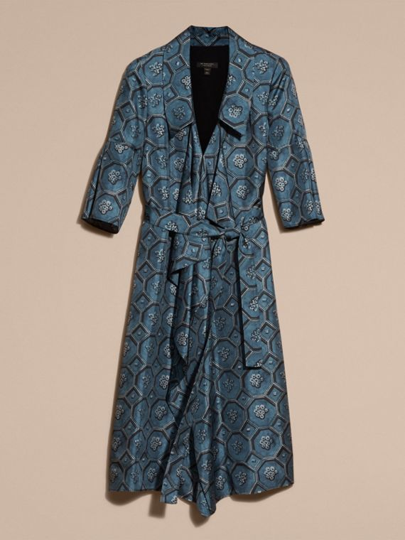 Dark mineral blue Wallpaper Print Silk Twill Wrap Trench Dress - cell image 3