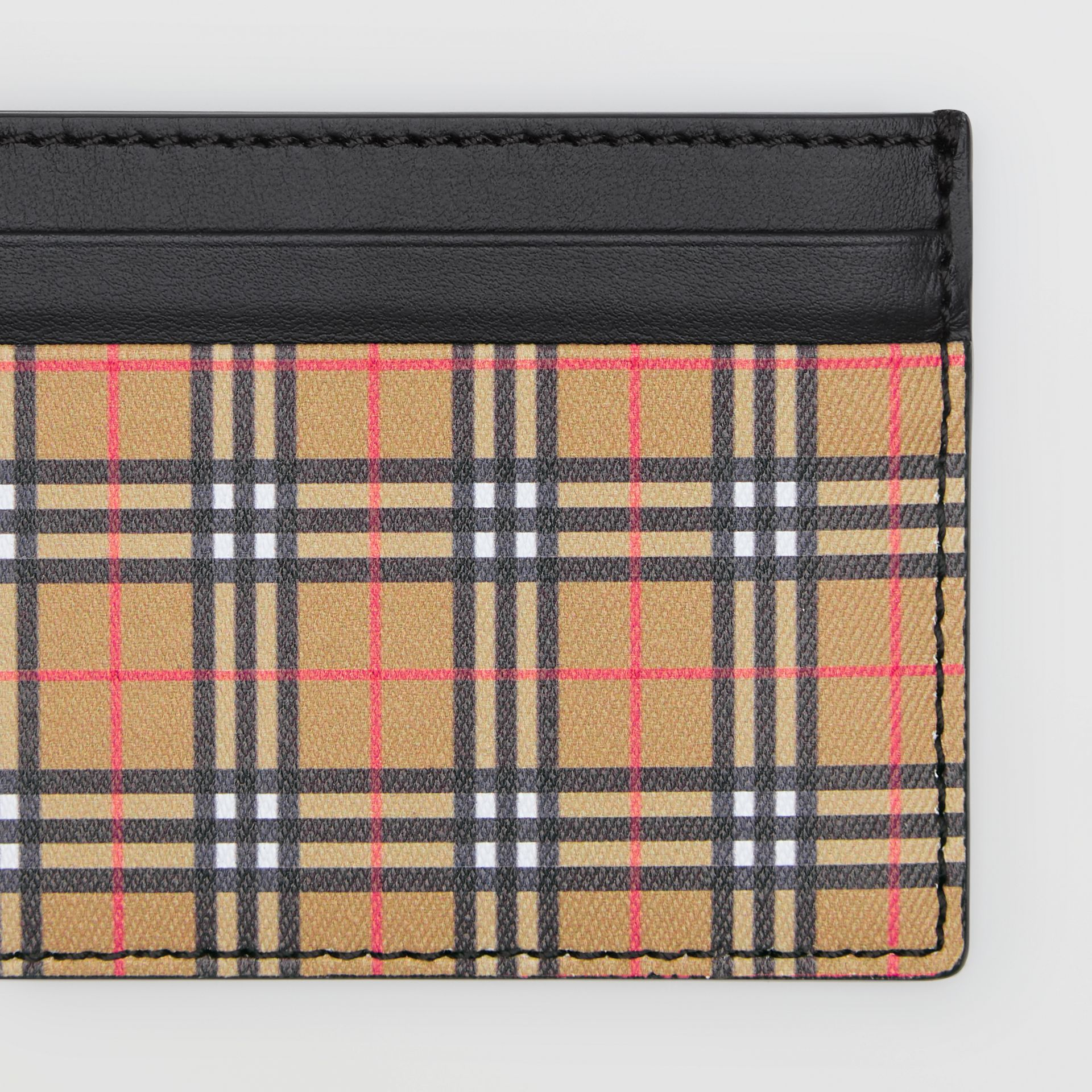 Vintage Check and Leather Card Case in Antique Yellow/black - Men | Burberry Australia - gallery image 1