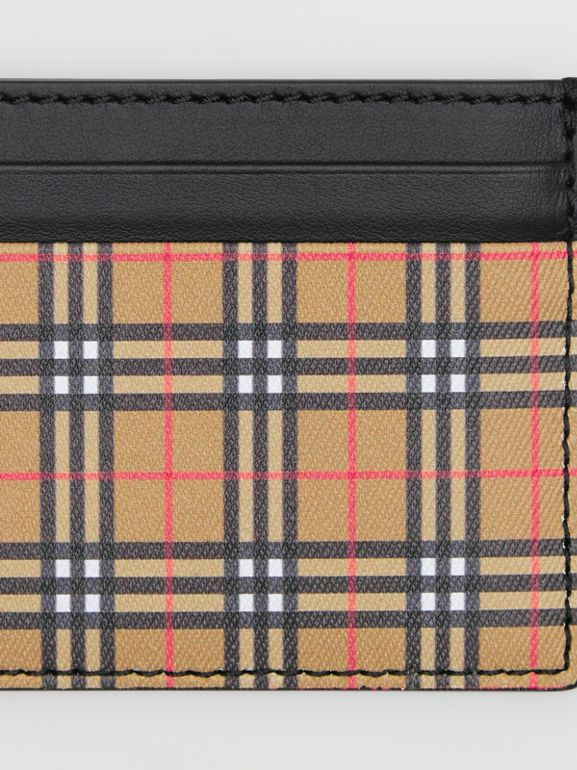 Vintage Check and Leather Card Case in Antique Yellow/black - Men | Burberry Hong Kong - cell image 1