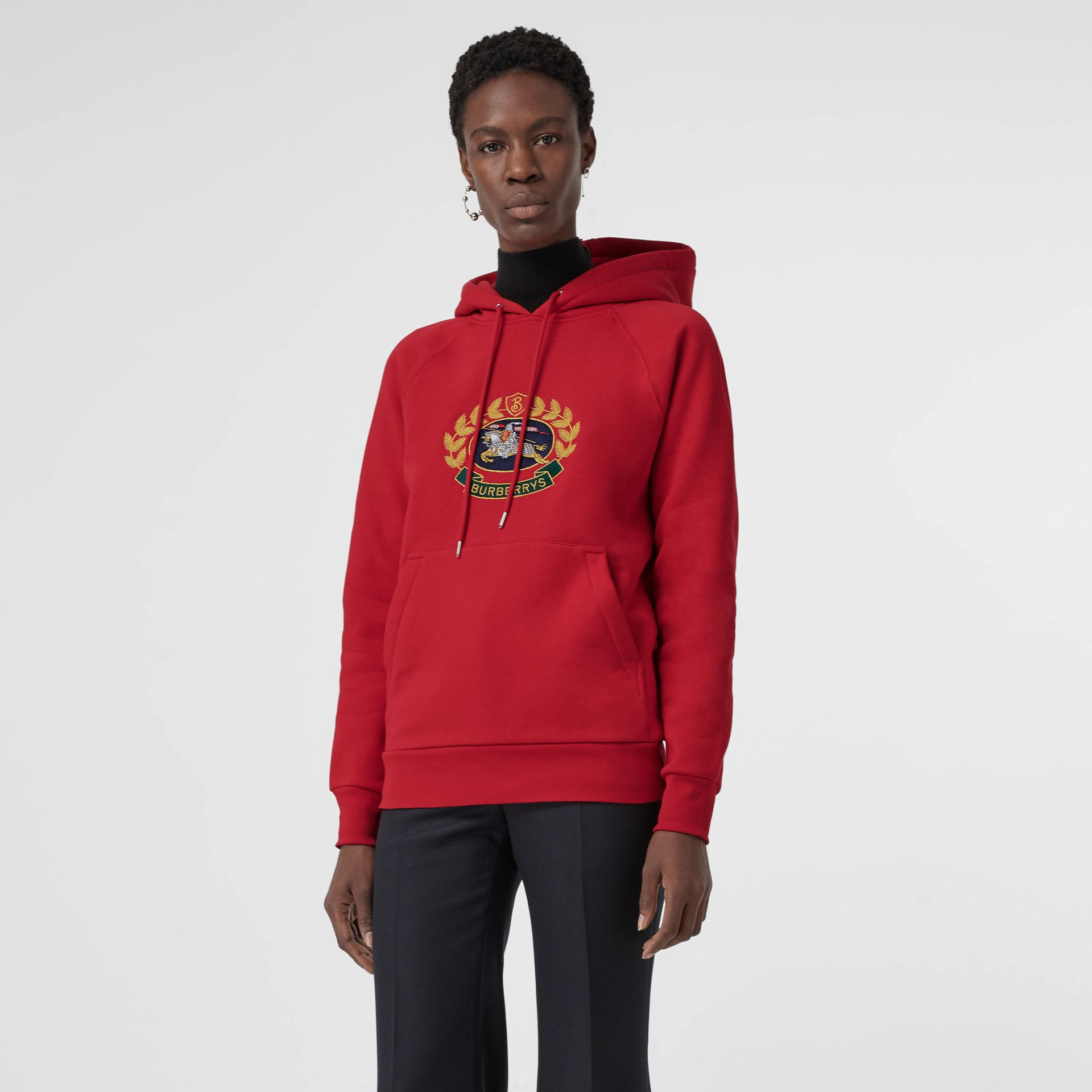 Embroidered Archive Logo Oversized Hoodie in Bright Red - Women | Burberry - gallery image 3