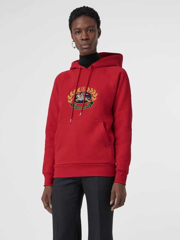 Embroidered Archive Logo Oversized Hoodie in Bright Red - Women | Burberry - cell image 3