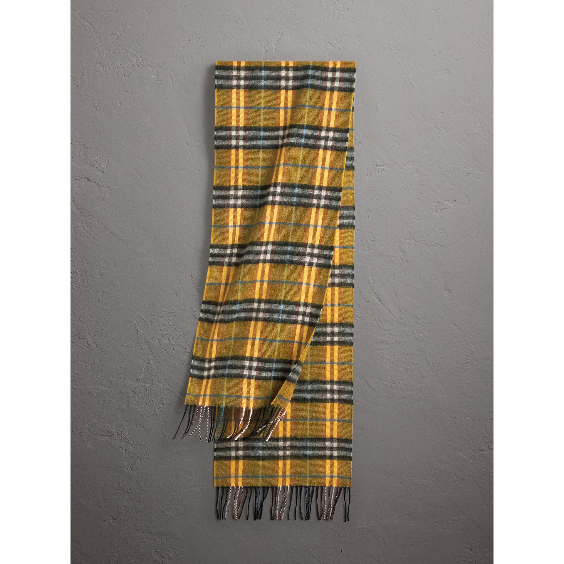 Check Cashmere Scarf in Amber Yellow | Burberry Australia - gallery image 1