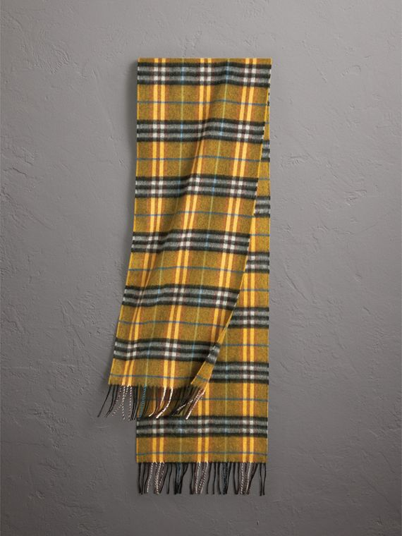 Check Cashmere Scarf in Amber Yellow | Burberry