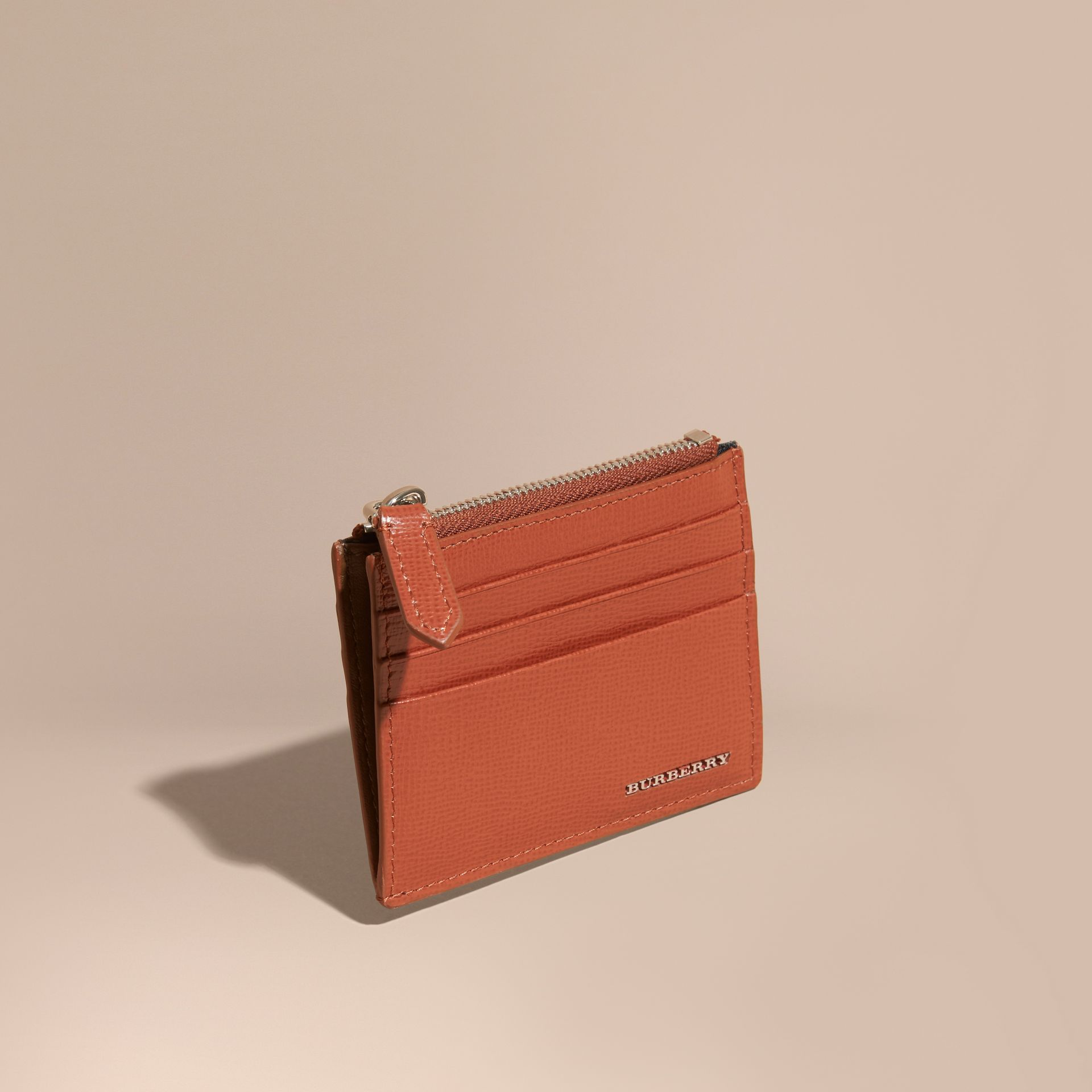 London Leather Zip-top Card Case in Burnt Sienna - gallery image 1