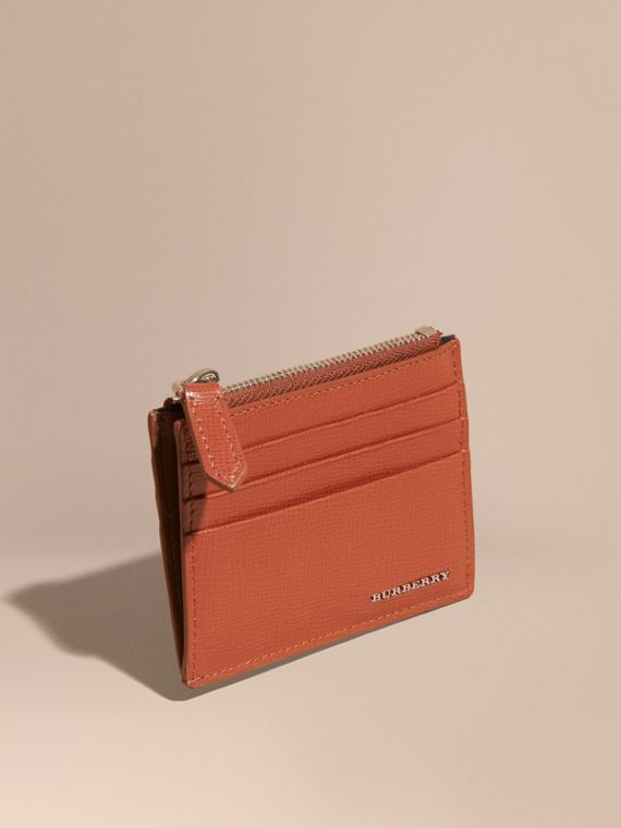 London Leather Zip-top Card Case Burnt Sienna
