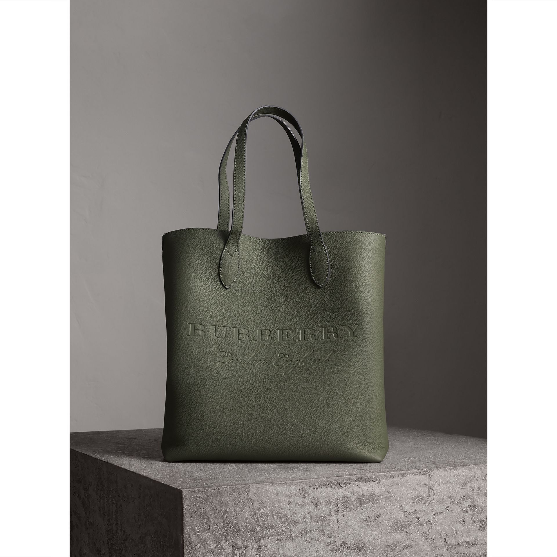 Medium Embossed Leather Tote in Slate Green | Burberry - gallery image 1