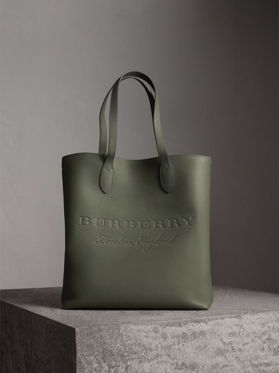 Medium Embossed Leather Tote Bag in Slate Green