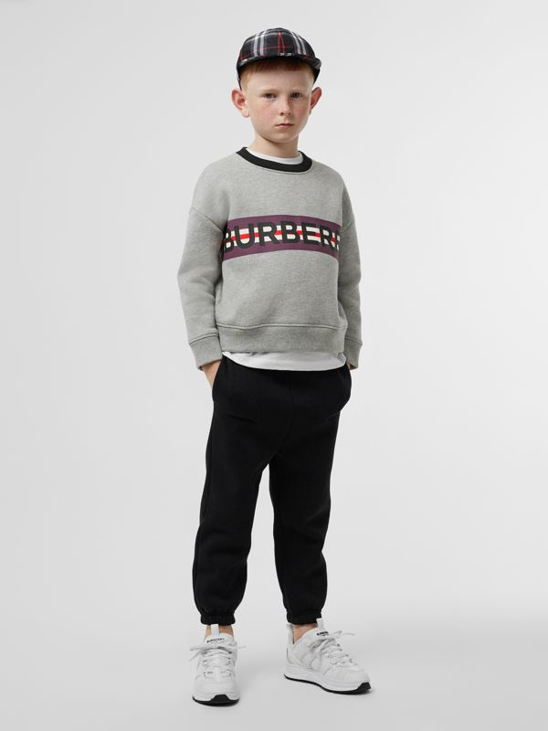 Logo Print Jersey Sweatshirt in Grey Melange - Children | Burberry - cell image 3