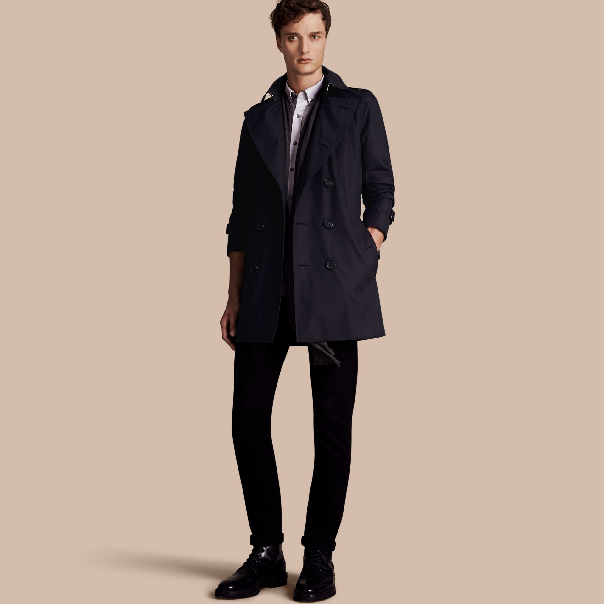 Navy The Sandringham – Mid-length Heritage Trench Coat Navy - gallery image 1