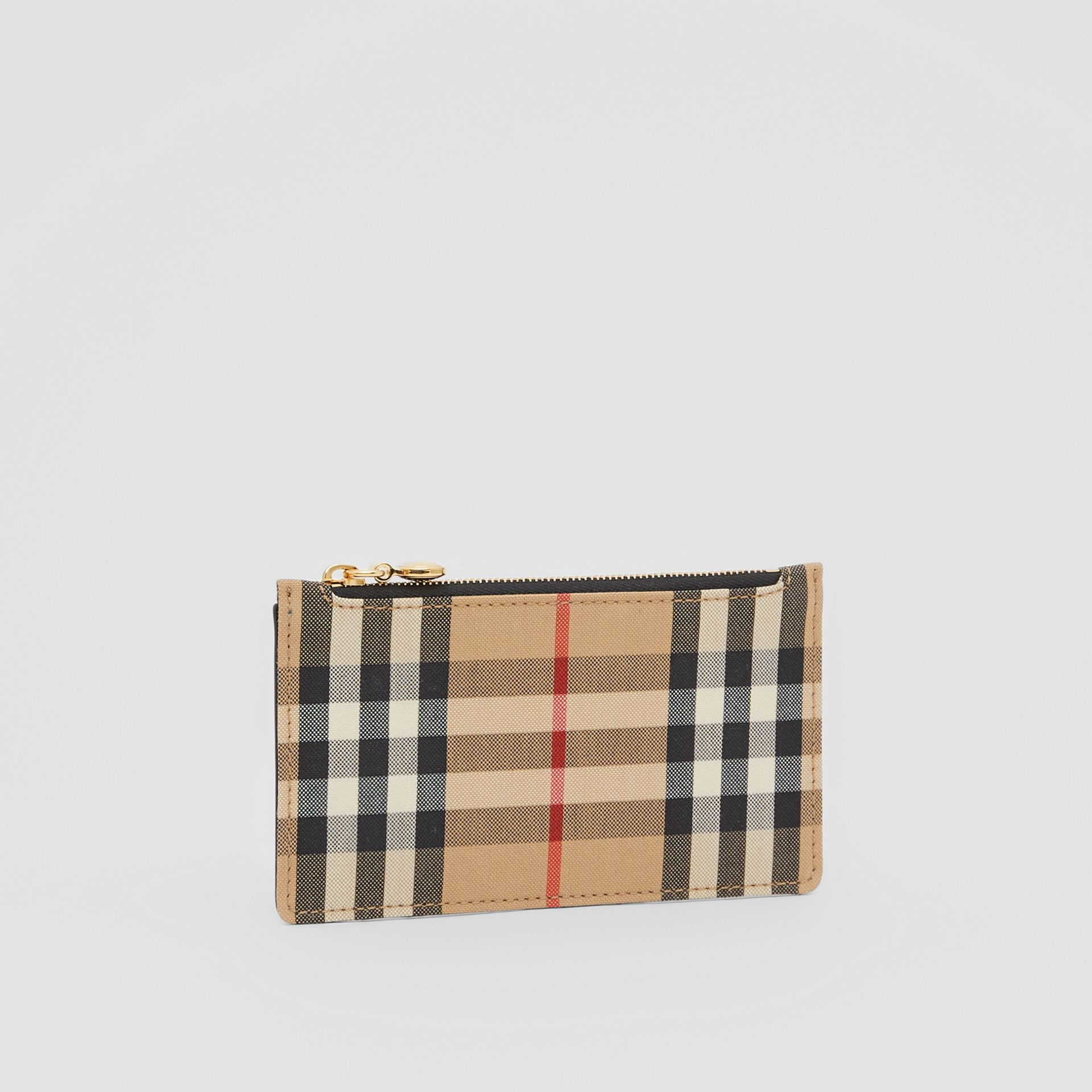 Vintage Check and Leather Zip Card Case in Black - Women | Burberry Canada - gallery image 3