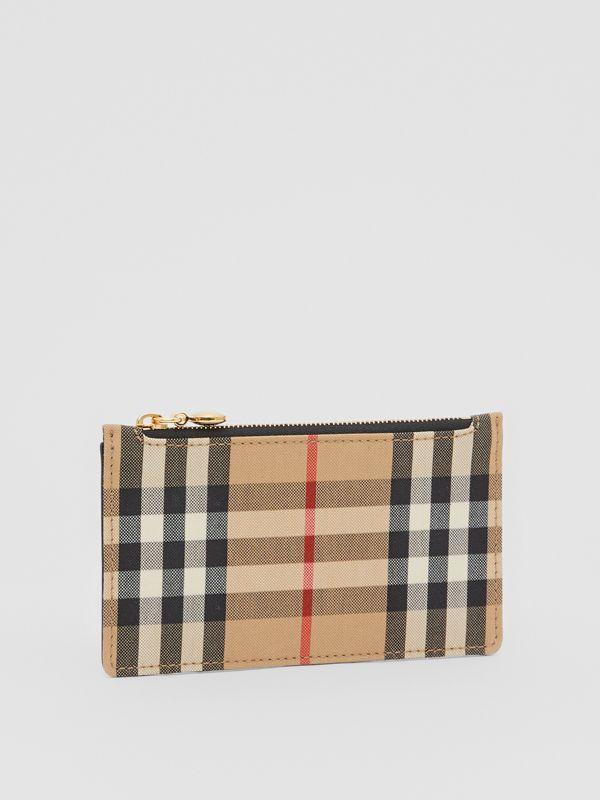 Vintage Check and Leather Zip Card Case in Black - Women | Burberry Canada - cell image 3