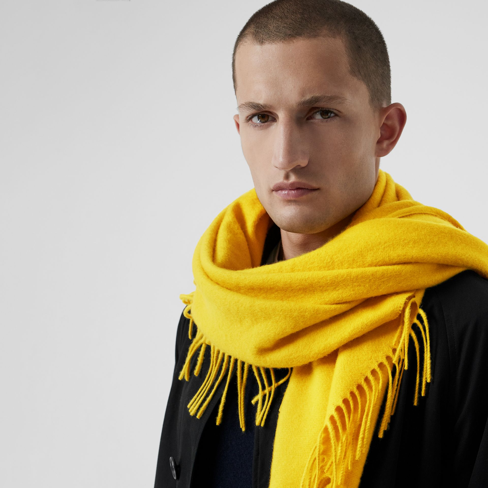 The Burberry Bandana in Embroidered Cashmere in Gorse Yellow | Burberry - gallery image 6