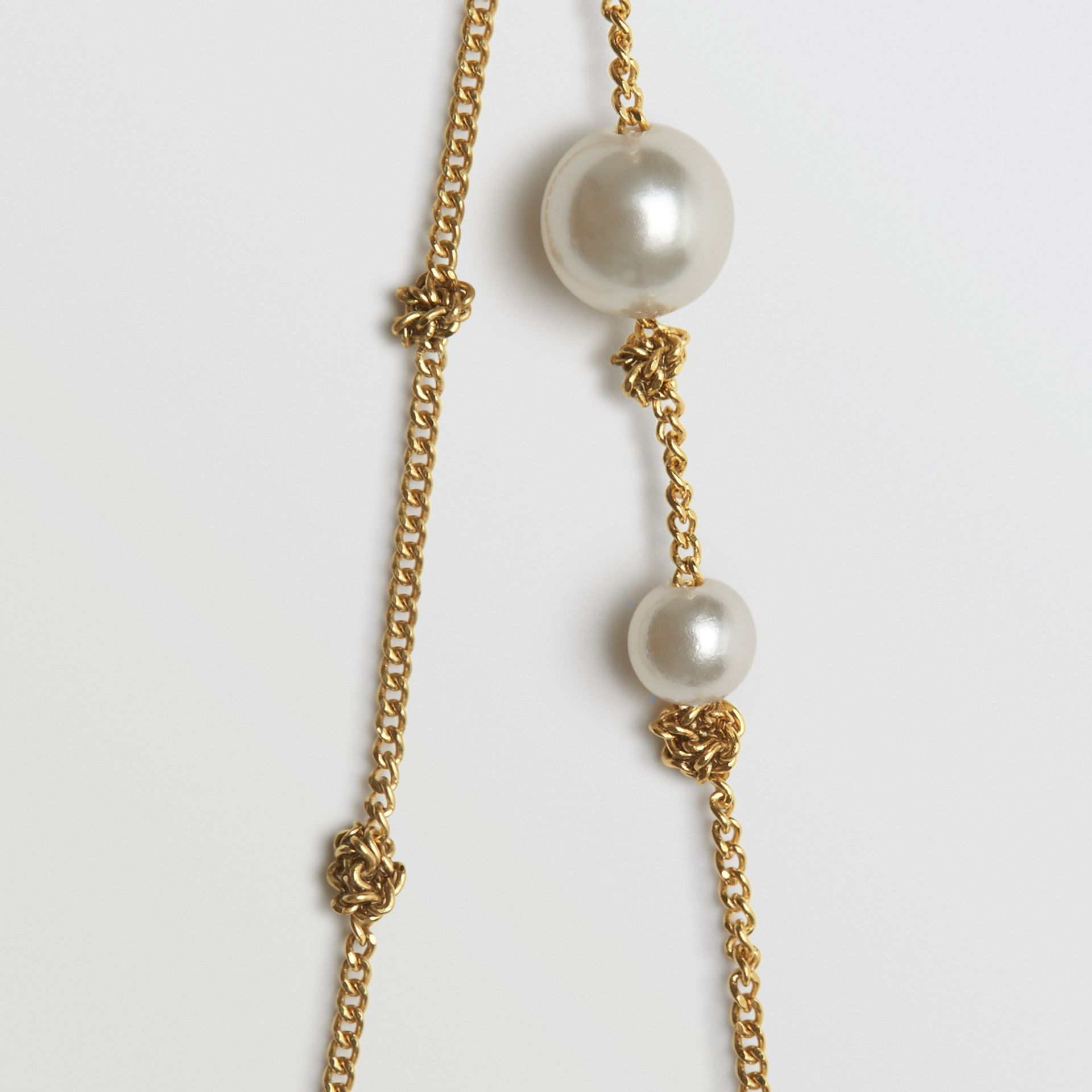 Faux Pearl Gold-plated Drop Earrings in Light - Women | Burberry - gallery image 2