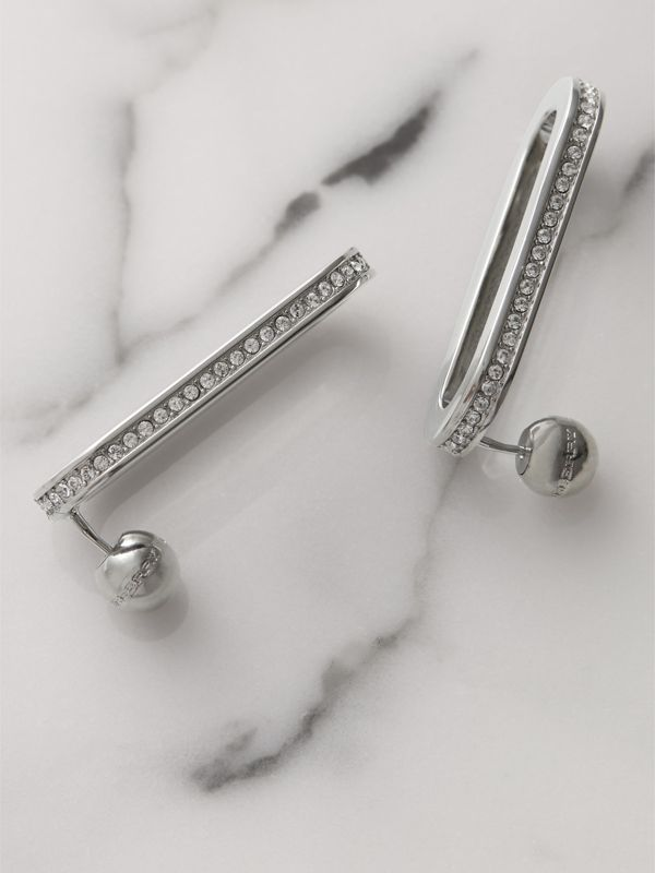 Crystal Palladium-plated Link Earrings in Palladio/crystal - Women | Burberry - cell image 2