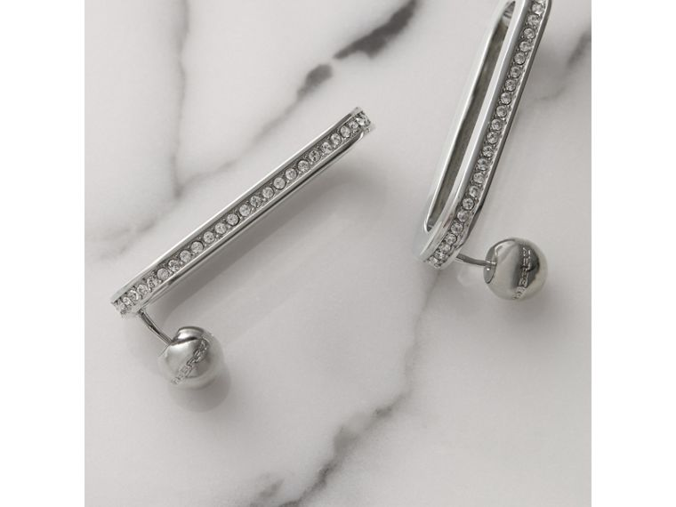 Crystal Palladium-plated Link Earrings in Palladio/crystal - Women | Burberry United Kingdom - cell image 1