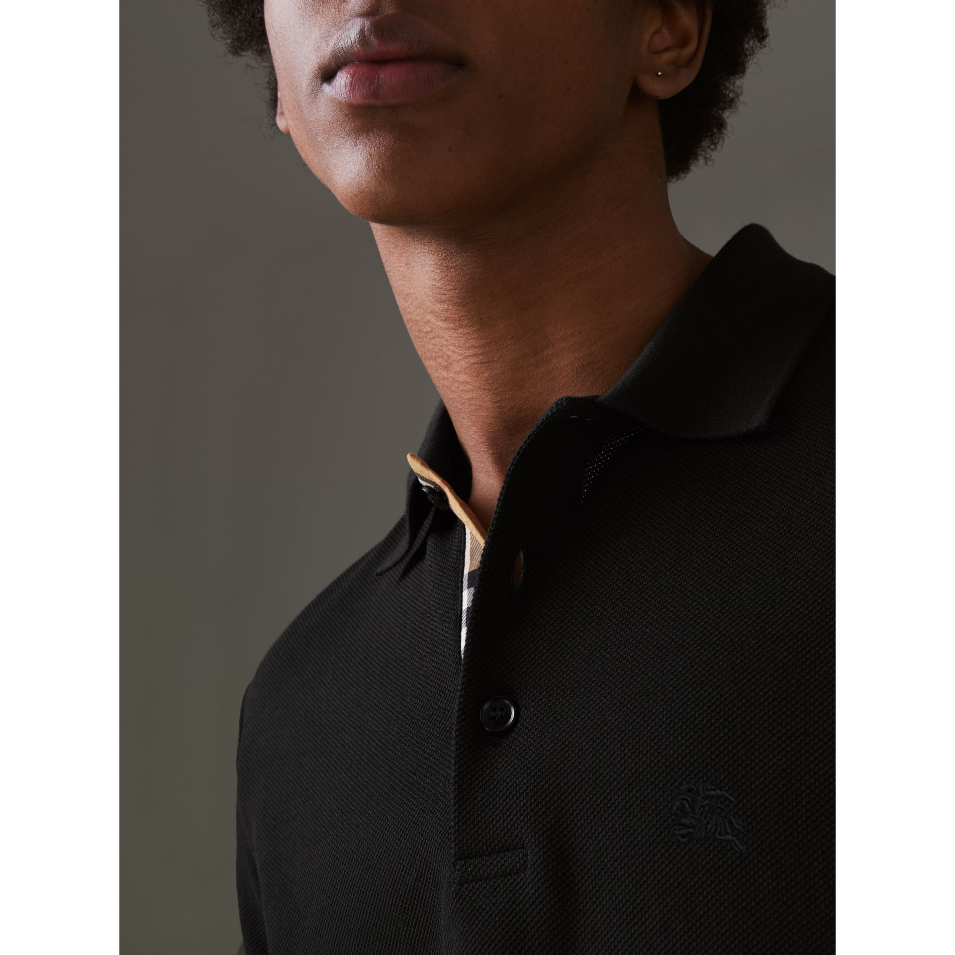 Check Placket Cotton Polo Shirt in Black - Men | Burberry - gallery image 1