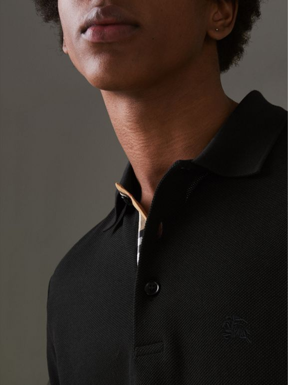 Check Placket Cotton Polo Shirt in Black - Men | Burberry Canada - cell image 1