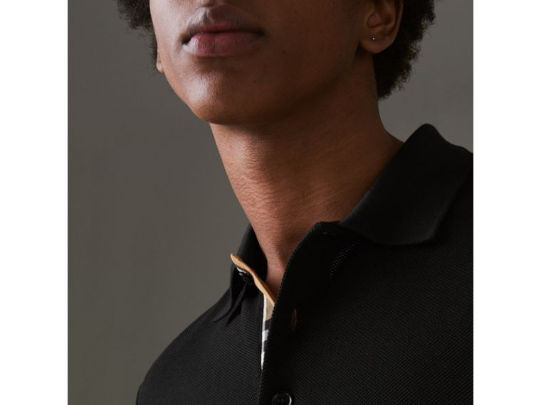 Check Placket Cotton Polo Shirt in Black - Men | Burberry - cell image 1