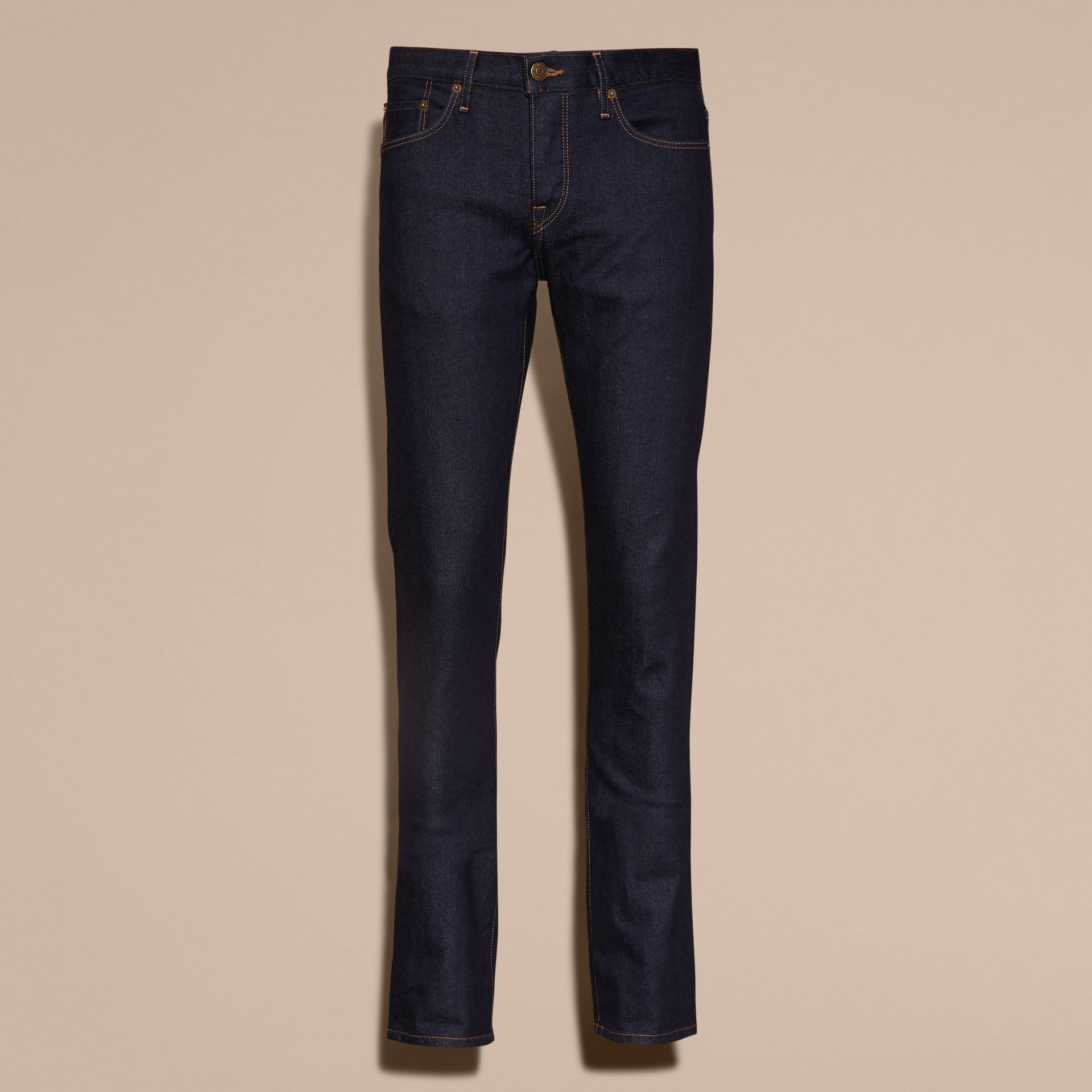 Straight Fit Stretch Japanese Selvedge Denim Jeans - Men | Burberry - gallery image 4