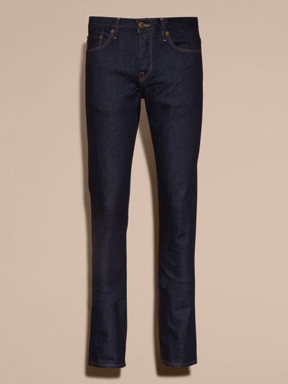 Straight Fit Stretch Japanese Selvedge Denim Jeans - Men | Burberry - cell image 3