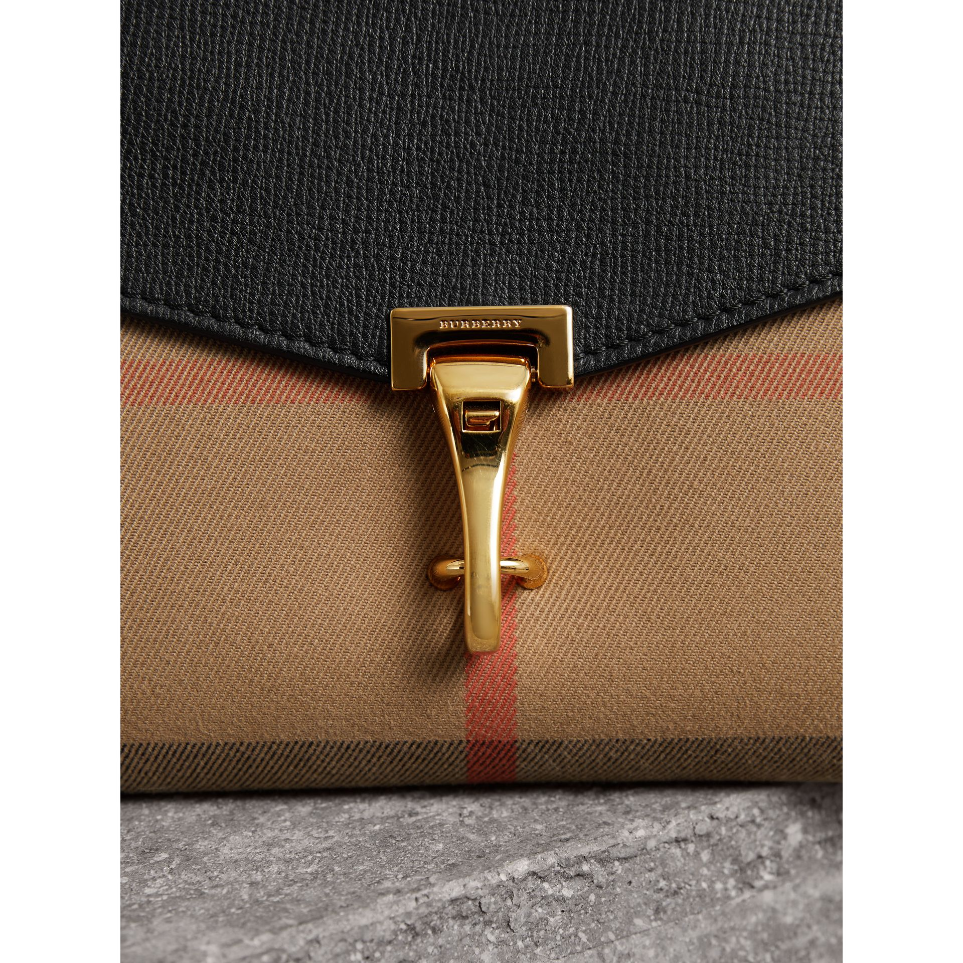 Small Leather and House Check Crossbody Bag in Black - Women | Burberry Singapore - gallery image 1