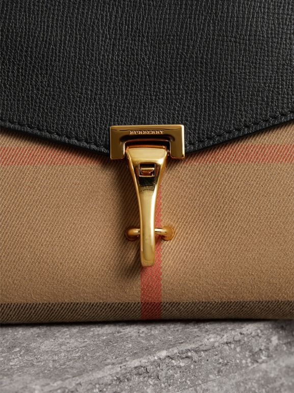 Small Leather and House Check Crossbody Bag in Black - Women | Burberry - cell image 1