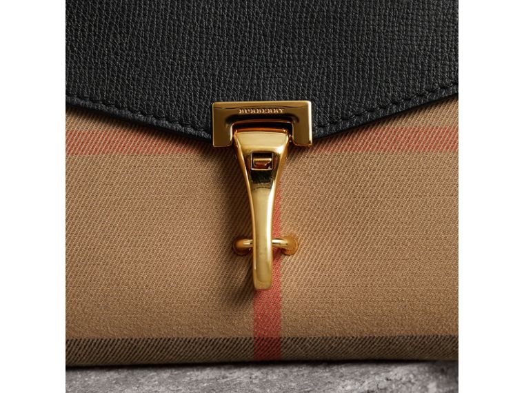 Small Leather and House Check Crossbody Bag in Black - Women | Burberry Canada - cell image 1