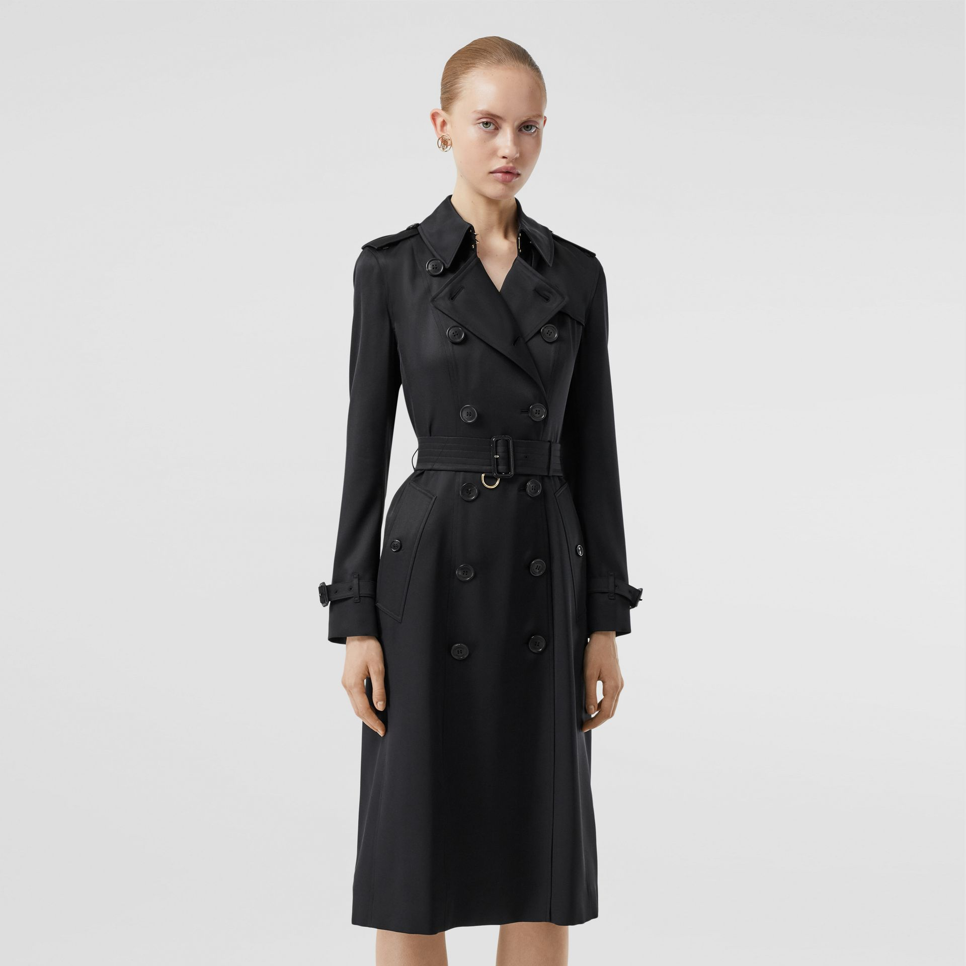 Silk Satin Trench Coat in Black - Women | Burberry - gallery image 5
