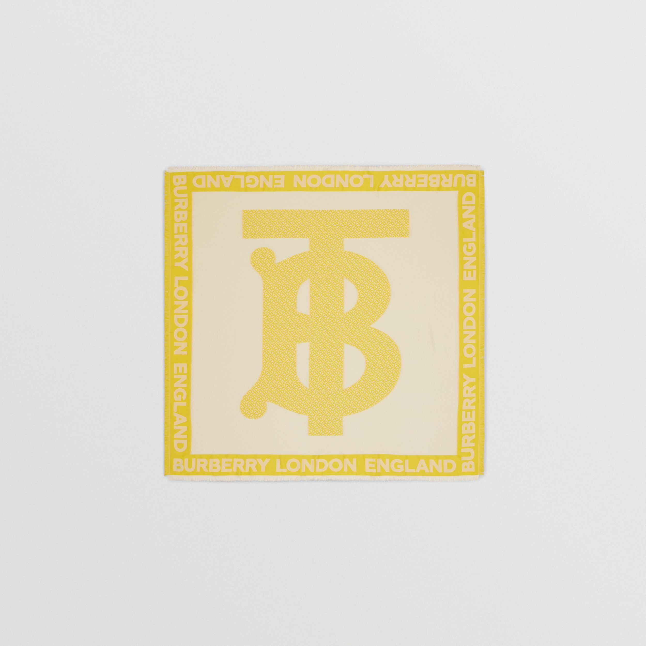 Monogram Fil Coupé Silk Blend Large Square Scarf in Yellow | Burberry - 1