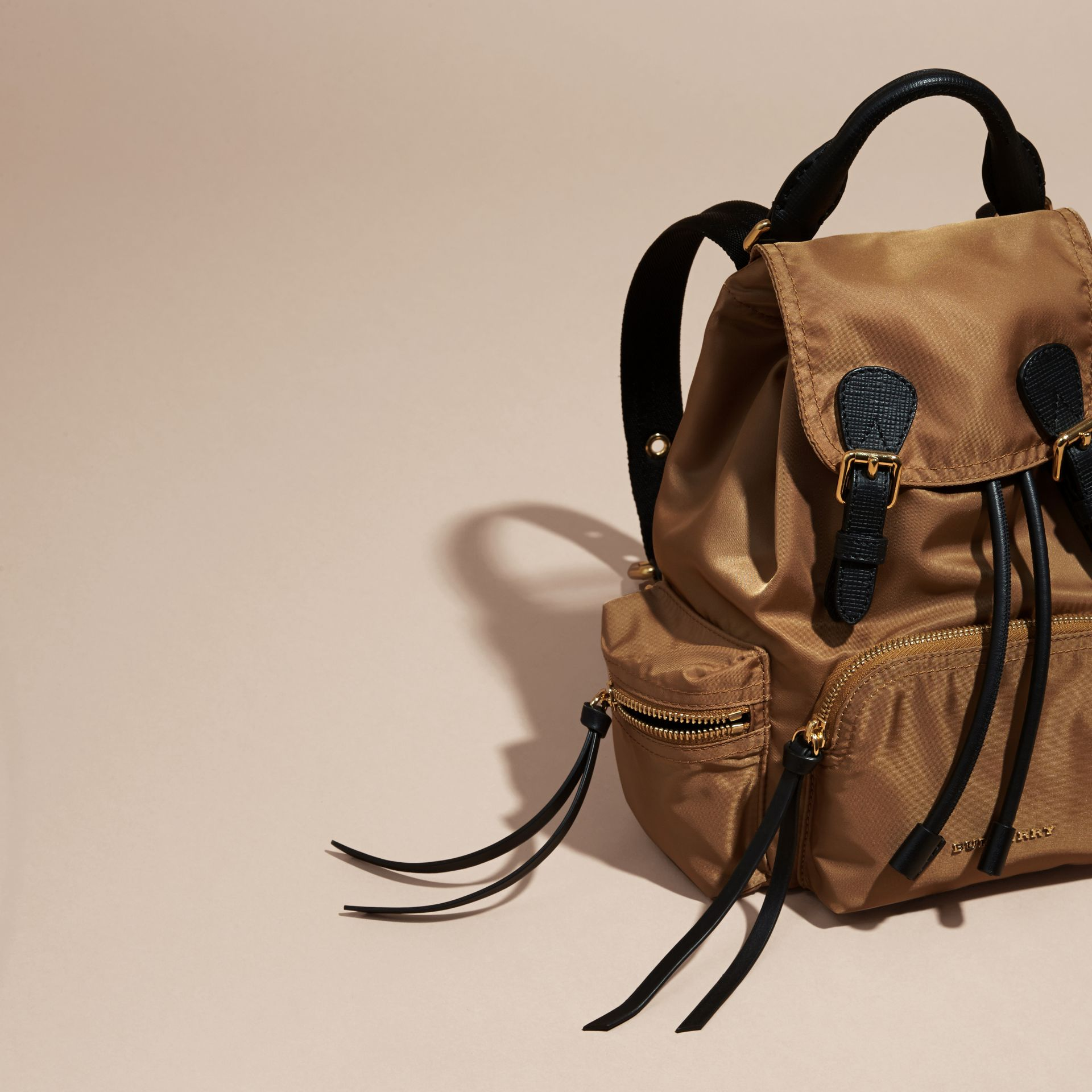 The Small Rucksack in Technical Nylon and Leather in Light Flax - gallery image 6