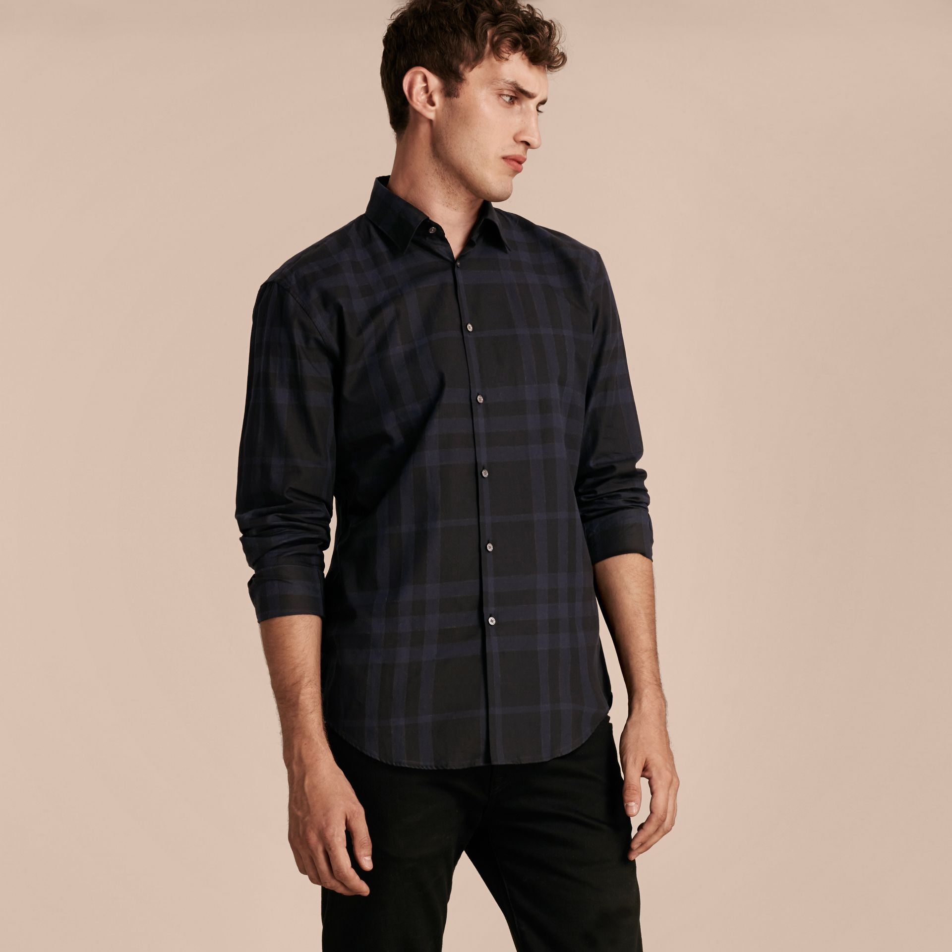 Bright navy Check Cotton Shirt - gallery image 6
