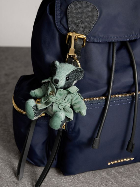 Thomas Bear Charm with Tropical Gabardine Trench Coat in Dusty Mint - Women | Burberry Australia - cell image 2