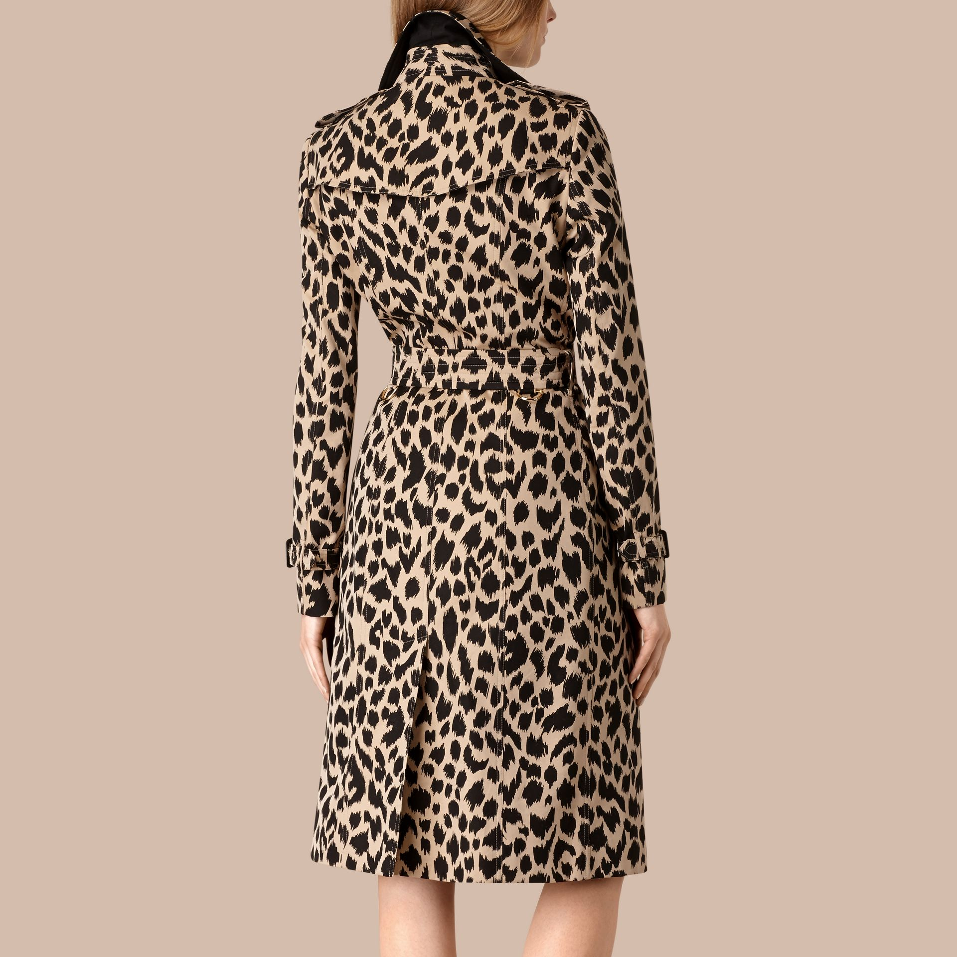 Honey/black Animal Print Cotton Gabardine Trench Coat - gallery image 2