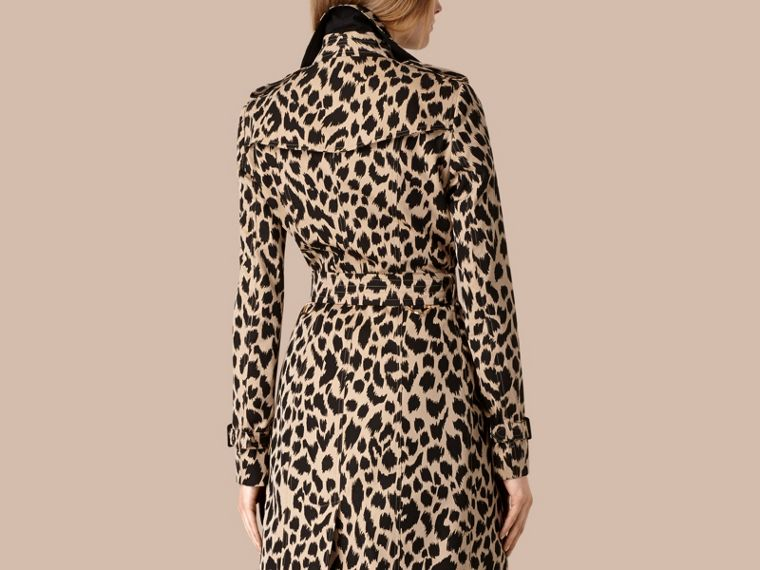Honey/black Animal Print Cotton Gabardine Trench Coat - cell image 1