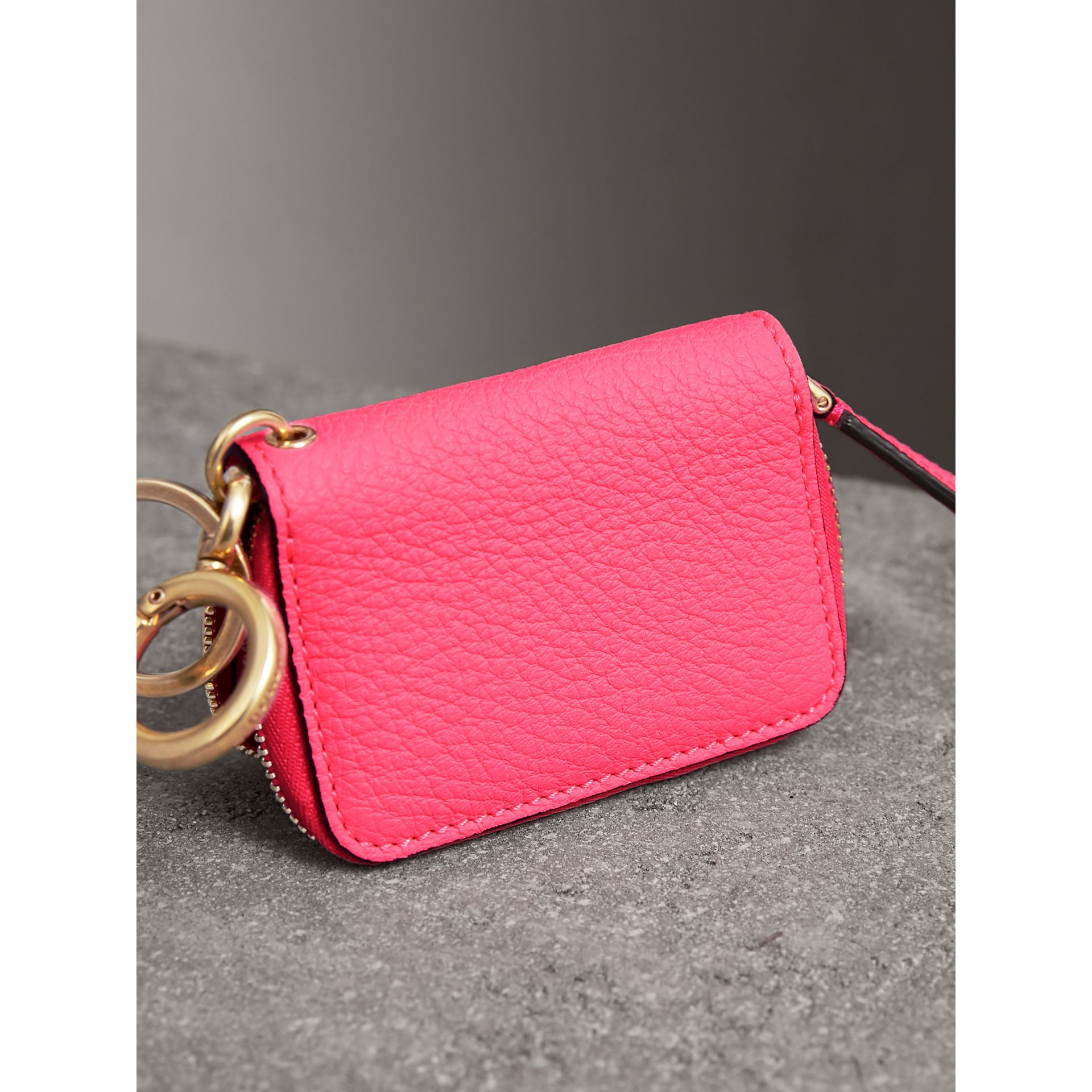 Embossed Leather Notebook Charm in Bright Pink | Burberry Singapore - gallery image 2