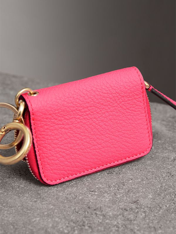 Embossed Leather Notebook Charm in Bright Pink | Burberry - cell image 2