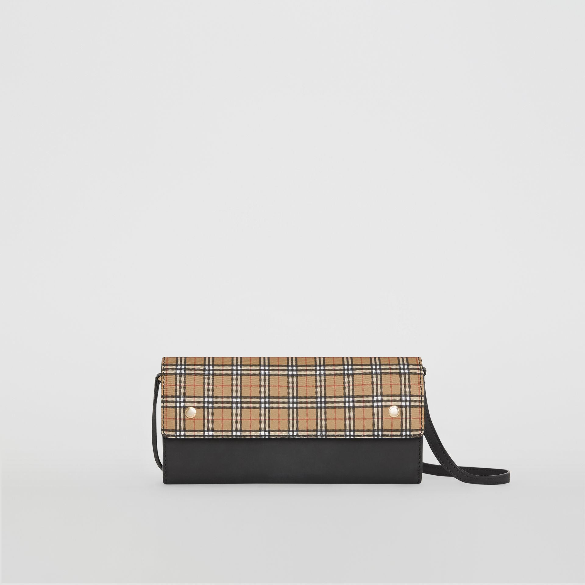 Small Scale Check Wallet with Detachable Strap in Antique Yellow - Women | Burberry - gallery image 0