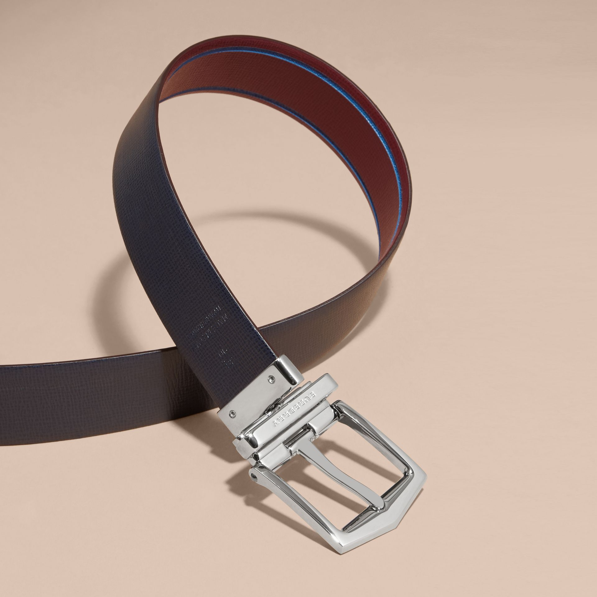 Burgundy red/dark navy Reversible Border Detail London Leather Belt Burgundy Red/dark Navy - gallery image 4