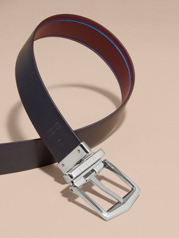 Reversible Border Detail London Leather Belt Burgundy Red/dark Navy - cell image 3