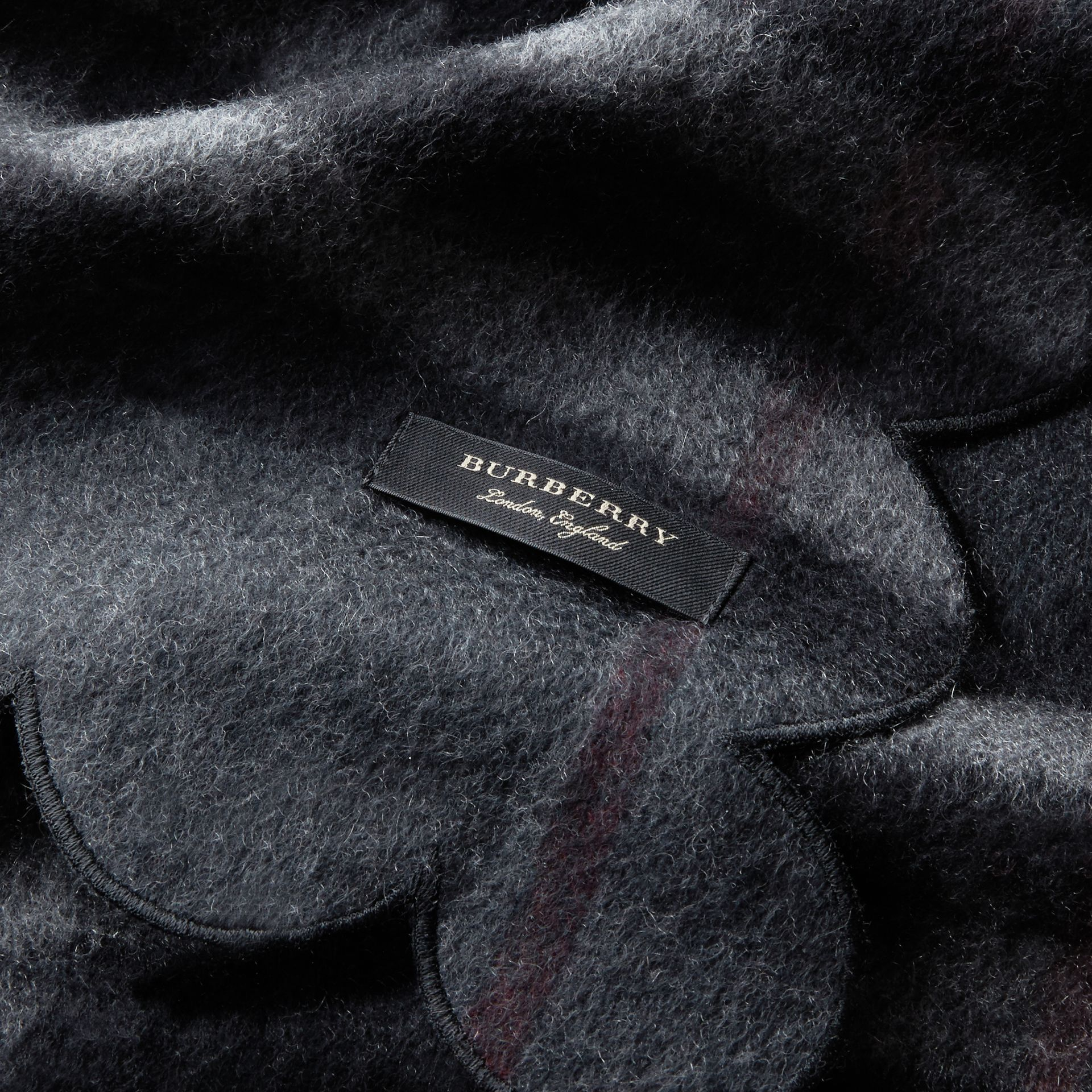 Scalloped Check Cashmere Scarf in Charcoal - gallery image 2