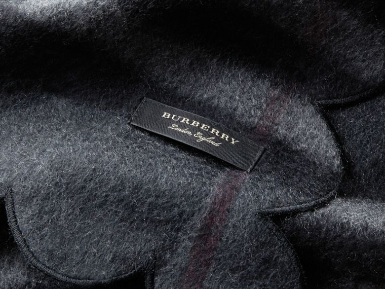 Scalloped Check Cashmere Scarf in Charcoal - Women | Burberry Australia - cell image 1