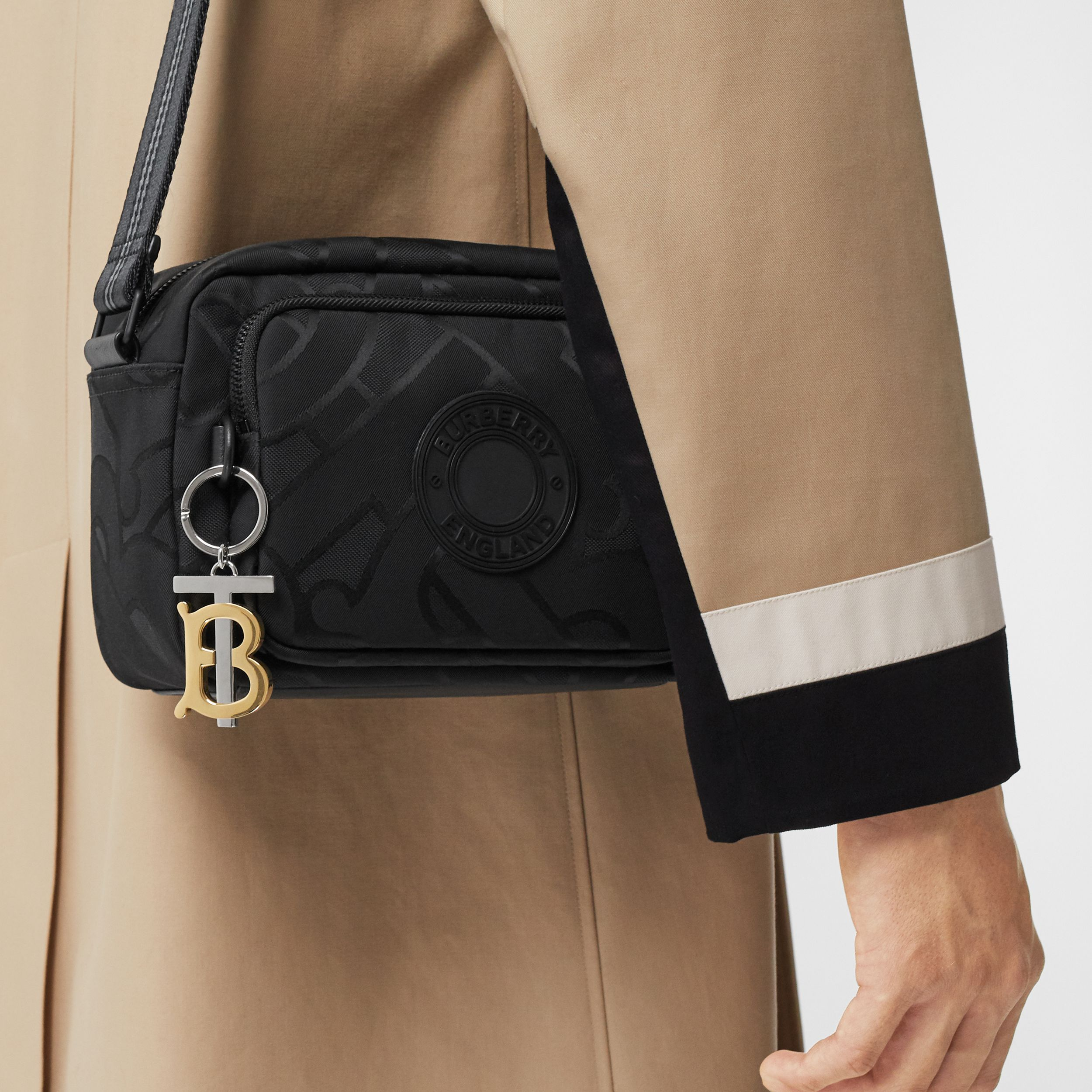 Monogram Recycled Polyester Crossbody Bag in Black - Men | Burberry - 3