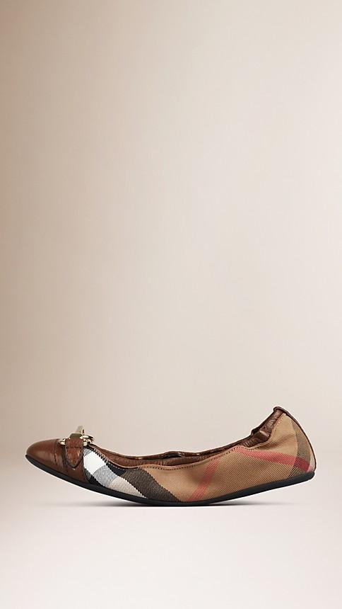 Dark tan Buckle Detail House Check Ballerinas - Image 2