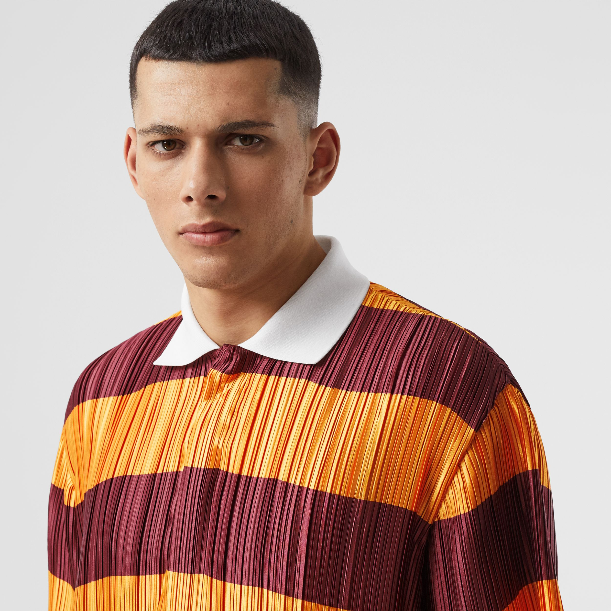 Striped Satin Plissé Polo Shirt in Citrus Orange | Burberry - 2