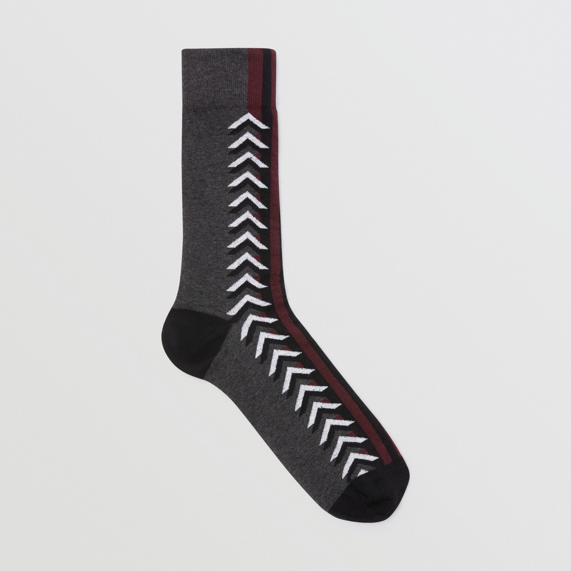 Graphic Intarsia Cotton Blend Socks in Charcoal - Women | Burberry United Kingdom - gallery image 0