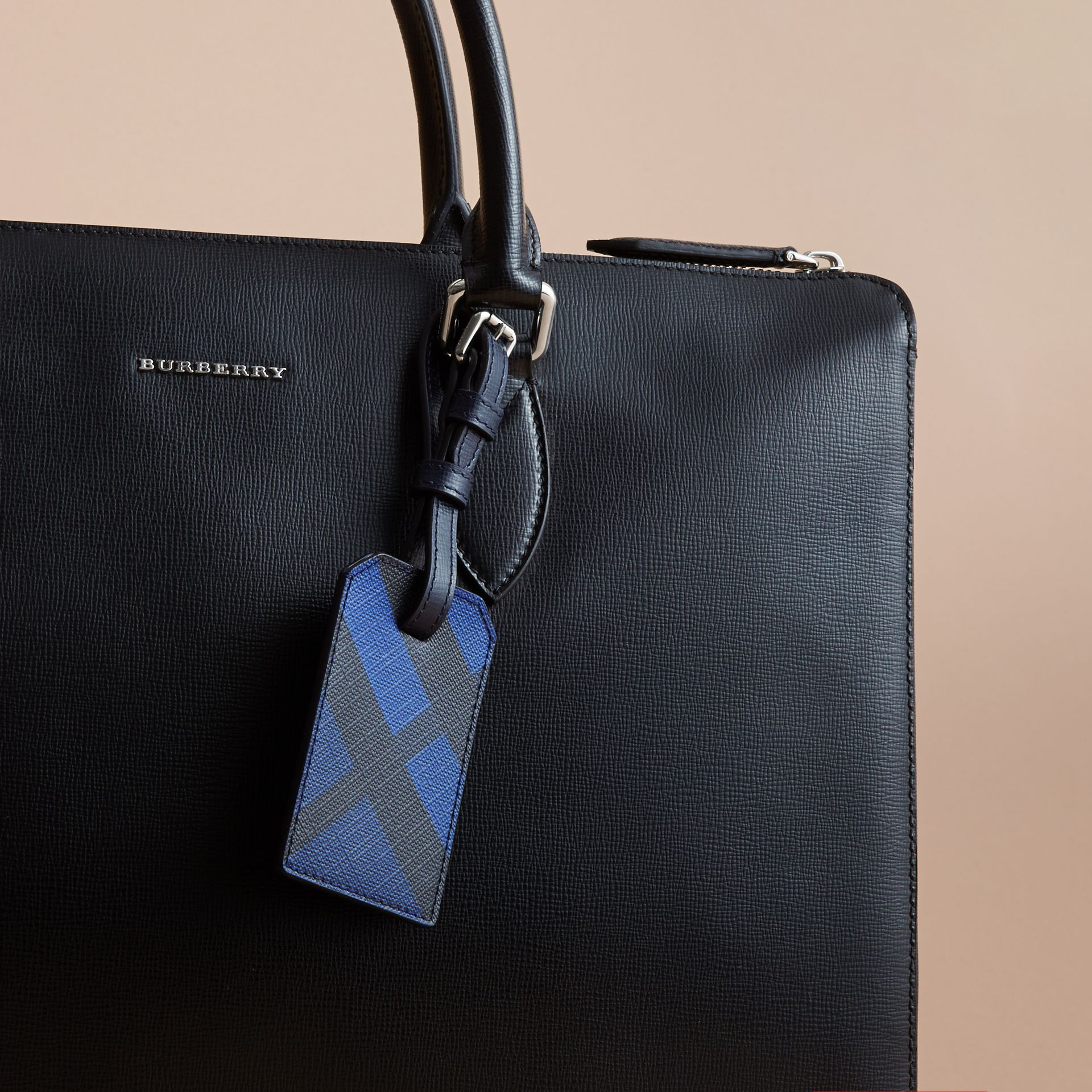 London Check Luggage Tag in Bright Lapis - Men | Burberry Australia - gallery image 3