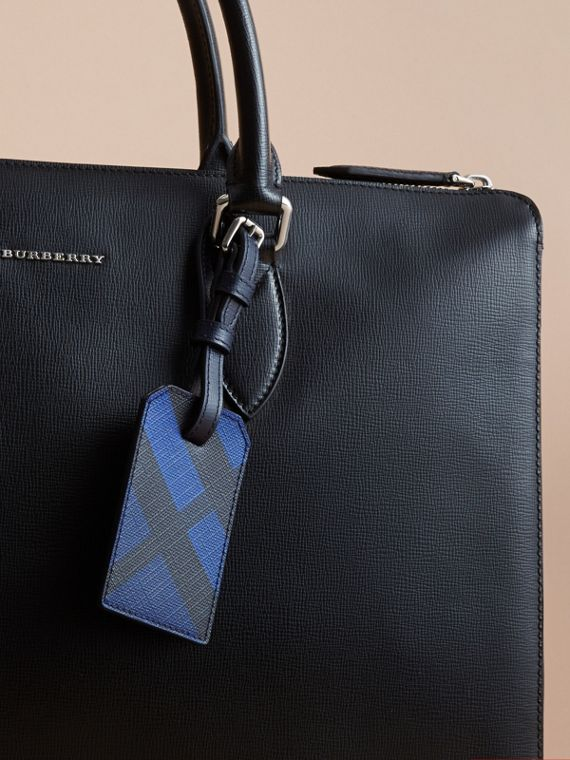 London Check Luggage Tag in Bright Lapis - Men | Burberry Canada - cell image 2