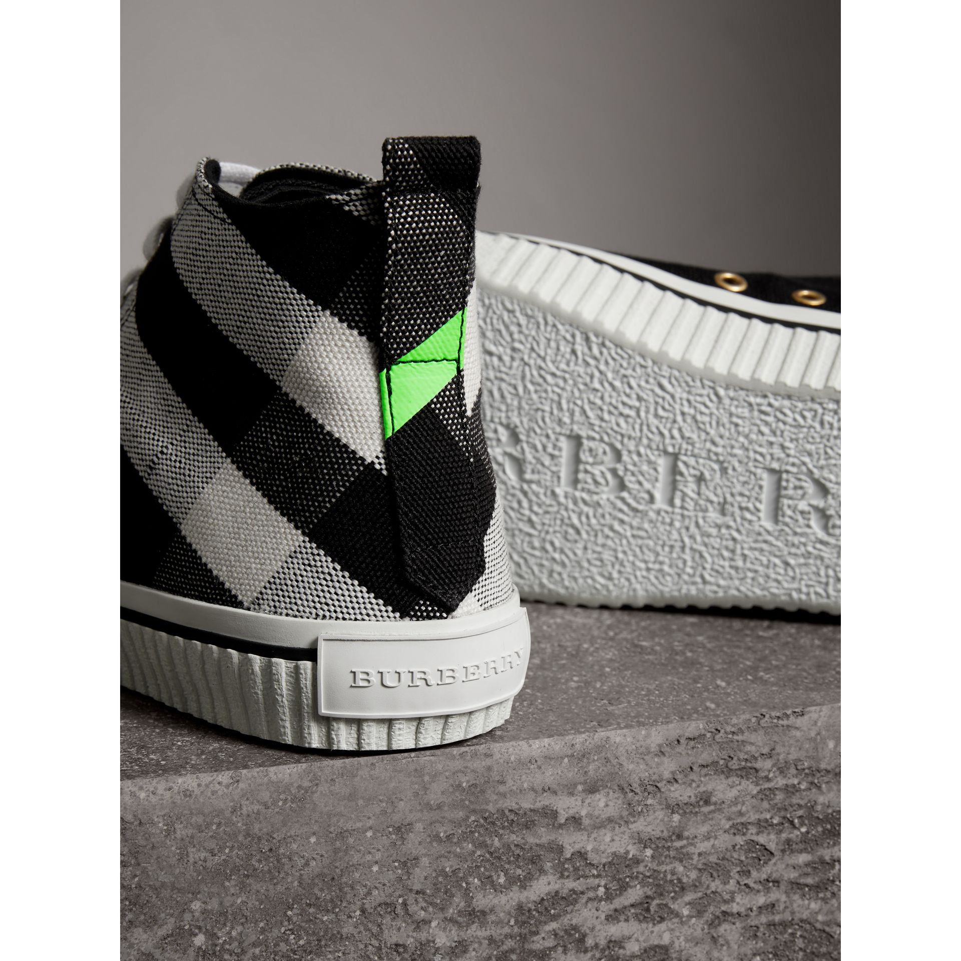 Canvas Check and Leather High-top Sneakers in Black/neon Green - Men | Burberry - gallery image 1