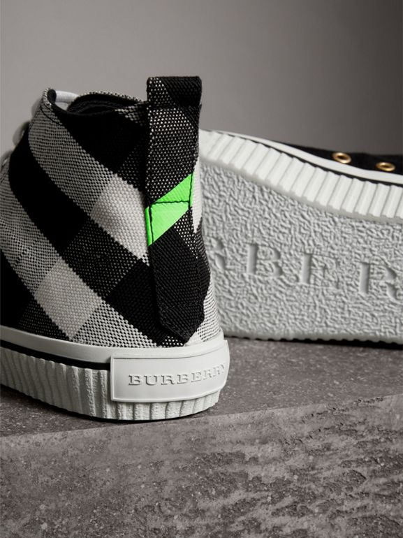 Canvas Check and Leather High-top Sneakers in Black/neon Green - Men | Burberry - cell image 1