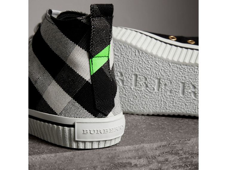Canvas Check and Leather High-top Sneakers in Black/neon Green - Men | Burberry Canada - cell image 1